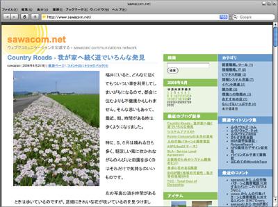 SafariでみたSawacom(このサイト)